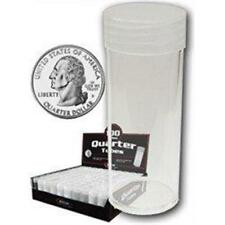10 BCW Round Clear Plastic Quarter Coin Tubes with Screw on Caps
