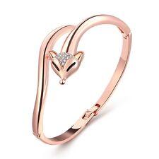 18K Rose Gold Bangle Zirconia Fox Bracelet L58