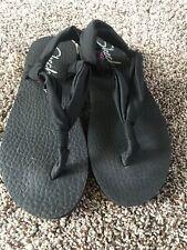 Skechers Womens Black Yoga Mat Foam Sling Back Thong Sandals Sz 8 Shoes
