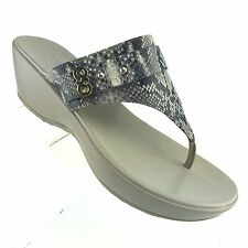 Cole Haan Grand OS Thong Sandal Snakeskin Print Wedge Womens Shoe SIZE 9 B