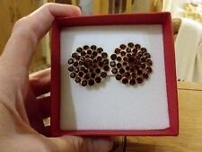 Brand new huge clip-on earrings with dark red diamanté crystals +  box