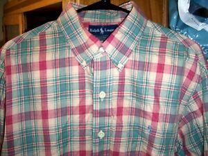 Ralph Lauren Custom Fit Men's Sz XL Soft Cotton Plaid Dress Shirt Polo Pony Logo
