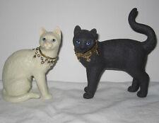 Lenox Diamond and Onyx Jeweled Cats Black & White Fugures Figurines Set