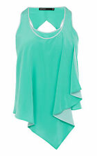 Karen Millen Draped waterfall frill silk Vest UK10 - Aqua Blue ( RRP £99)