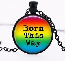Pride LGBT Born This Way Crystal Glass Pendant Necklace Jewelry GAY - Black