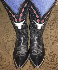 Vintage Women's Boots Western Tony Lama Cowgirl 1950's Inlay Long-Horn Black 6