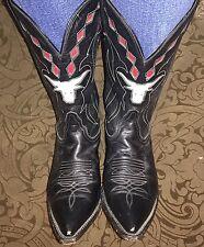 Tony Lama Vintage Cowboy Boots 50's Black Red Inlay Diamond White Long-Horn 6W