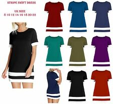 Womens Color Block Stripe Bodycon Short Sleeve Shift Dress UK Size 8 10 12 14