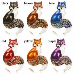 Fox Brooch Lapel Pin Various Colours Rhinestones & Enamel Foxy Fashion +Gift Bag