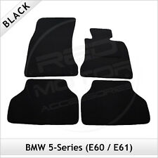 BMW 5-Series E60 E61 2003-2010 4-Clips Tailored Carpet Car Floor Mats BLACK