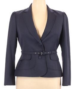 Anne Klein 2Pc. Suit Pants & Belted Blazer Wool Blend Sz 14 Petite Blue