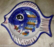 "VIETRI ITALY SOLIMENE FISH 6"" PIN DISH TEABAG HOLDER CONTIMENT BOWL BLUE"