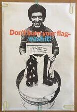 Peace Poster Don't Burn Your Flag Wash It Anti-war Pin-up 1960's Politics USA