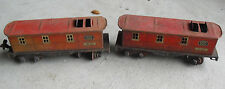 Lot of 2 Vintage O Scale Well Worn Lionel 1682 Red Caboose Cars