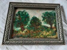 Vintage Expressionist Oil Painting Landscape Forest Miniature Signed and Framed