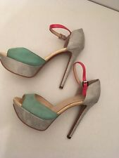 "Boutique 9 Womens Shoes size 7.5 Green & Silver 5"" Heels , Pink strap"