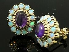 E201 Luxurious Genuine 9ct Gold Natural Oval AMETHYST & OPAL Stud Earrings
