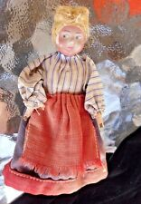 """Antique / Vintage Southern Girl Composition Cloth Doll handmade hand-painted 5"""""""
