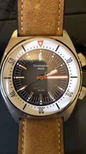 Christopher Ward C65 Super Compressor, black dial Vintage Oak Leather strap