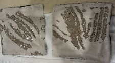 Set of 2 Square White & Silver Sequins Cushion Cover 16x16 Black Satin Back NEW