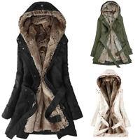 Women Ladies Fur Lining Coat Womens Winter Warm Thick Long Jacket Hooded Parka