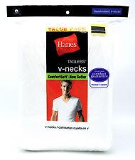 5 Hanes Blanco GRANDE L 107-112cm Cuello en V Camisetas sin Etiqueta Comfortsoft