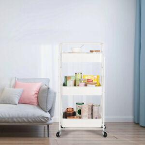 Kitchen 3-Tier Foldable Metal Utility Cart Kitchen Rolling Storage Cart w Wheels
