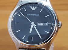 Mens XL Steel Bracelet Emporio Armani AR1977 Black Analog Day Date Gents Watch