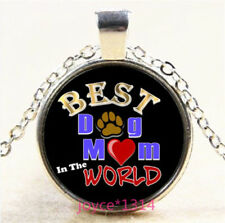 Best dog Mom Cabochon Silver/Bronze/Black/Gold Glass Chain Pendant Necklace#5331