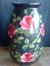 "Staffordshire Vase roses on black design 10"" x 5,25"""