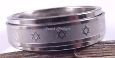 Star Of David Magen Judaica Rotating Jewish Ring Kabbalah Gift Silver Israel
