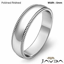 Mens Wedding High Polish Band Platinum Dome Milgrain Edge Solid Ring 5mm 8.5gram