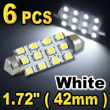 "6 x White 12-SMD Led Dome Map Lights 1.72"" Festoon 211-2 578 #12"