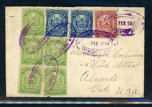 Nicaragua Postal History: LOT #20 1910 Multifranked Arms CORINTO - ALAMEDA CA $$