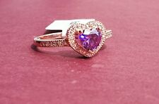 9ct Rose GOLD PLATED Sterling Silver Amethyst Heart Ring Sizes L,M,N,P