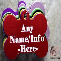Engraved Pet Tags Dog Cat ID personalised Bling Bone large Shaped ring collar uk