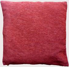 "Cushion Cover Red plain Chenille zip Home chair Sofa Décor UK 17"" Pillow Case X2"