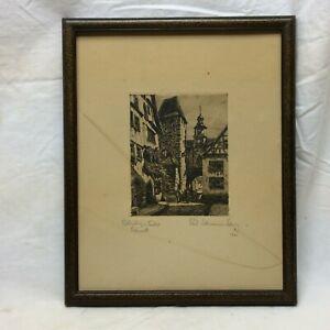 Vintage 1921 Art Etching Rothenburg & Tauber Bavaria Signed P Sollmann