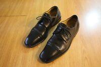 Men's JOHNSTON & MURPHY Size 10 M Black Lace Up Leather Oxfords Cap Toe