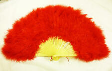 Red Feather Fan French Maid Moulin Rouge Victorian Style Fancy Dress