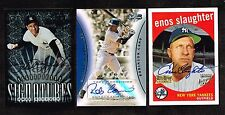 3 Yankee Cards Auto ~ '01 Enos Slaughter,  '06 Robinson Cano, Phil Rizzuto