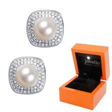 Perlen Zirkonia Ohrstecker 7 mm aus 925 Silber Sterlingsilber + Luxus LED Box