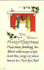 Merry Christmas, Arts and Crafts, Stockings, Fireplace - Postcard (B6)