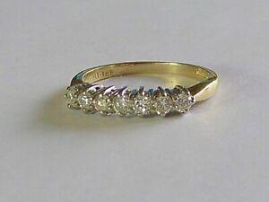 Superbe Demi Carat H / Si Diamant Bague Éternité En 18K or Jaune
