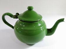 Vintage Yugoslavian Green Enamelware Tea Pot — Made by EMO