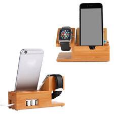Stand dock ricarica BAMBOO per Apple Watch iPhone 6 7 8 X 10 3 porte USB carica