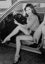 HELEN HARRIS sexy clipping B&W short-shorts 1980s leggy model in high heels