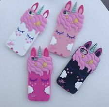Pink Girly 3D Cute Unicorn Phone Case Protective Silicone Gel Cover For iPhone