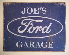 JOE'S FORD GARAGE, TIN PLATE SIGN, ESCORT, GRANADA, CORTINA, XR2, XR3, FIESTA