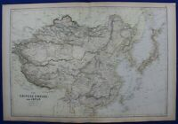 CHINESE EMPIRE, CHINA, JAPAN, original antique map, Blackie, Weller, 1882